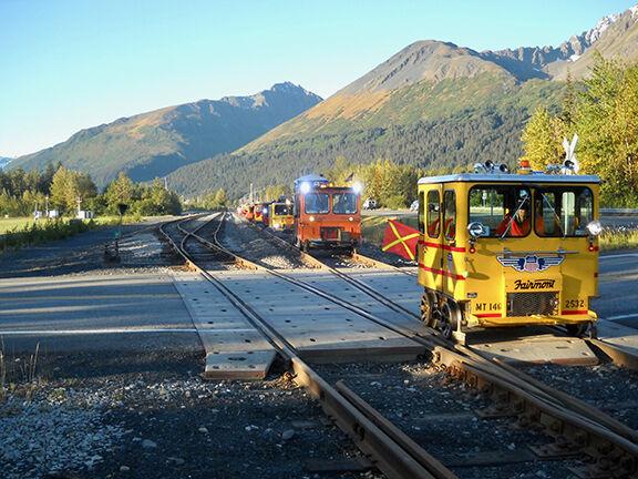 Railcars on tracks