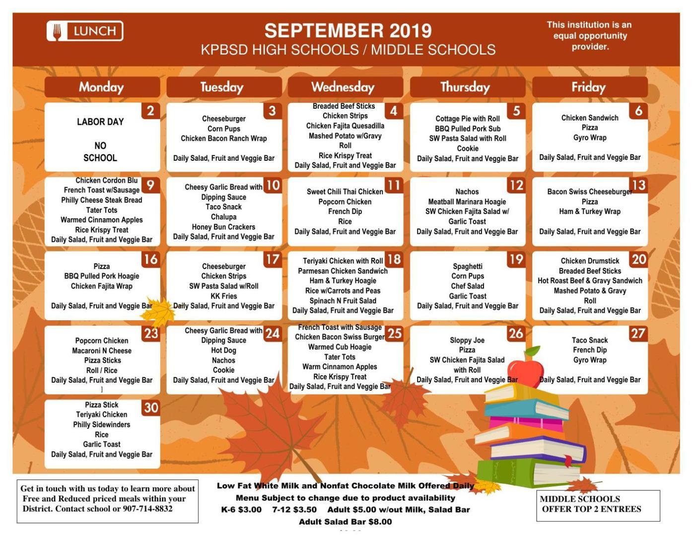 SMS Lunch Menu Sept. 2019