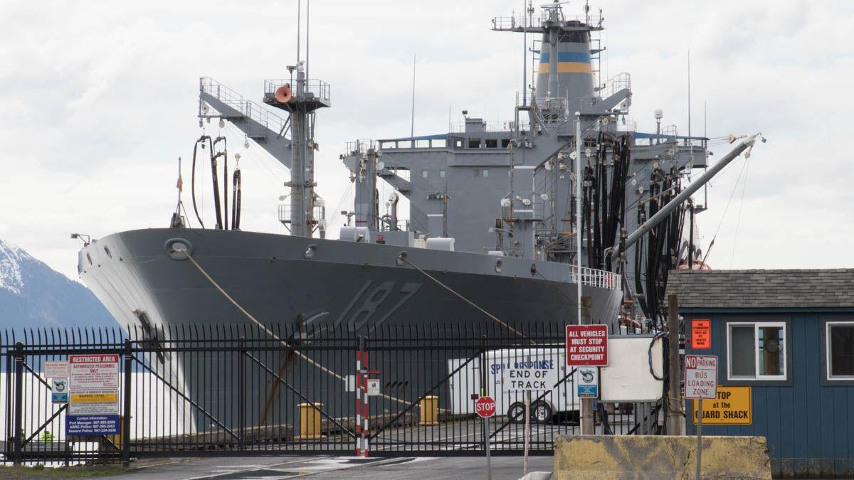 Navy vessel visits Seward