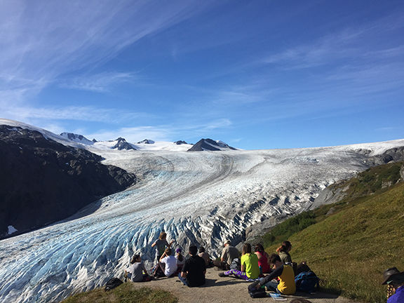 Seward Elementary students enjoying the view of Exit Glacier and the Harding Icefield from the top of the cliffs.