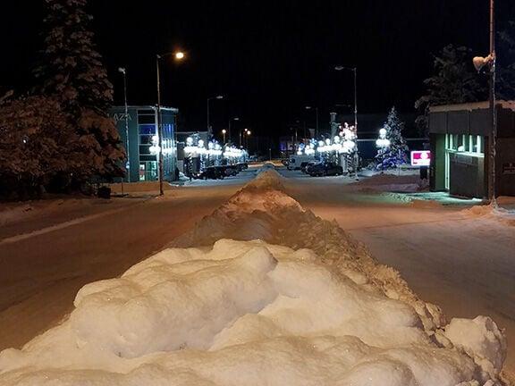 Downtown snow on street