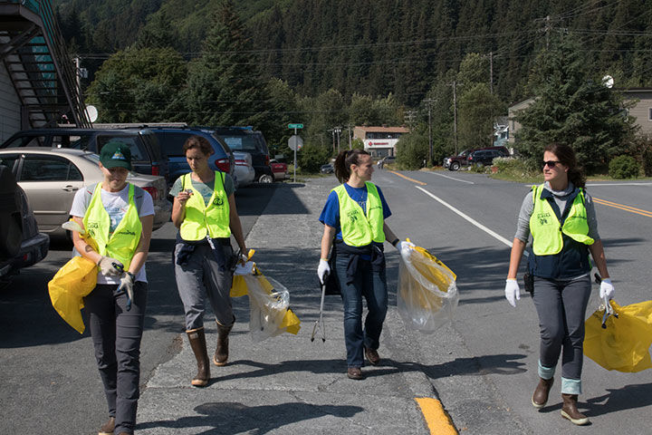 Teen Liter Patrol Along Street