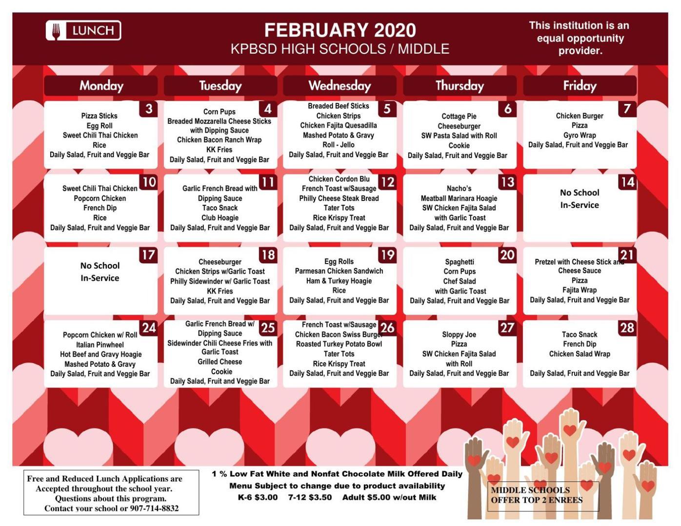 Seward Middle School Lunch Menu Feb. 2020