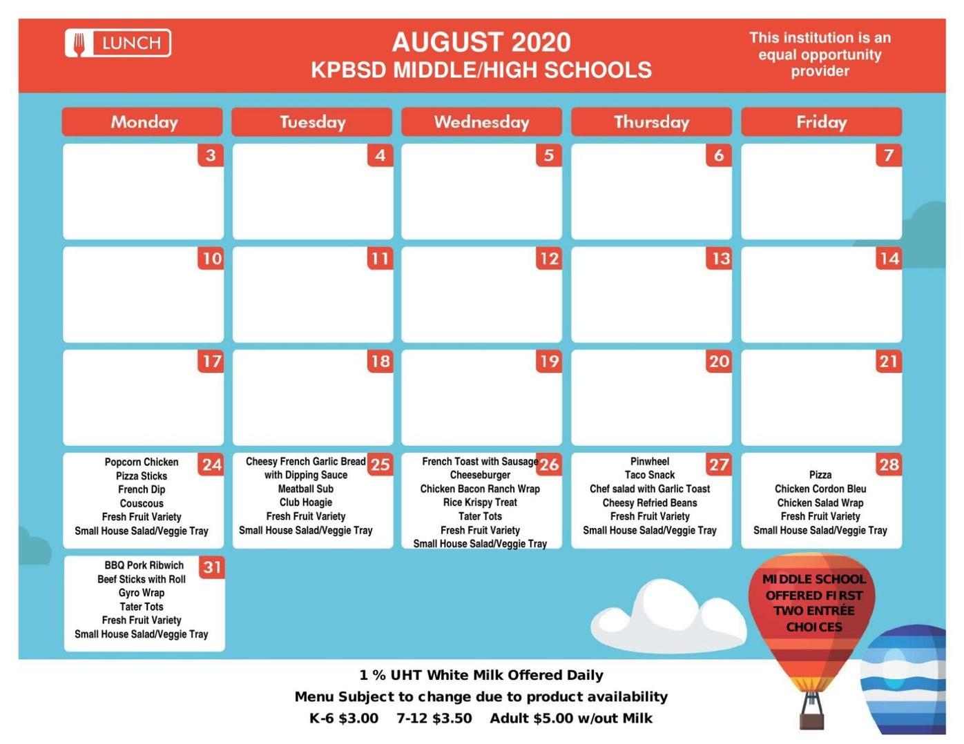 Seward Middle School Lunch Menu Aug. 2020