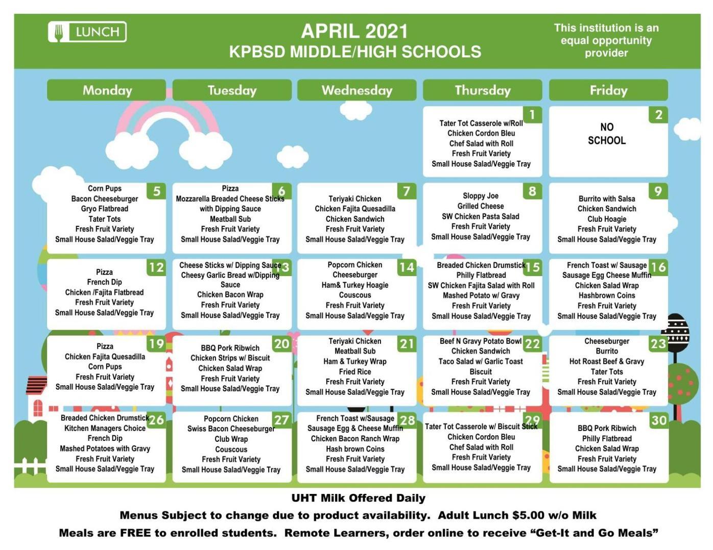 Seward Middle School Lunch Menu April 2021