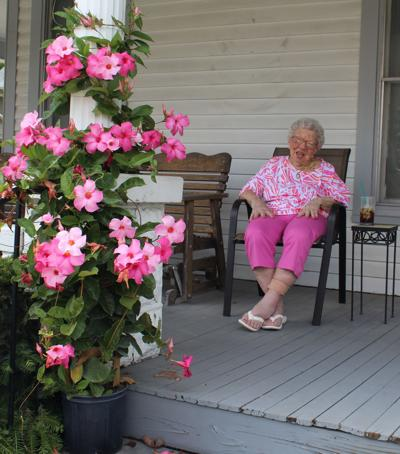 Helena Hardin on her front porch