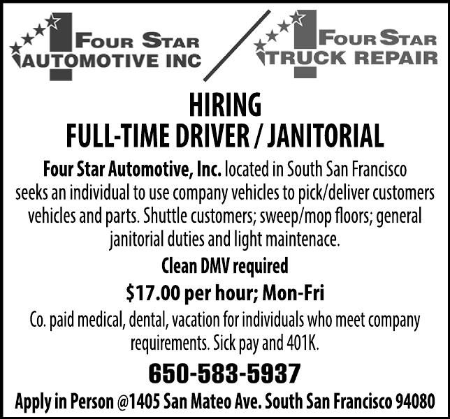 Hiring Full-Time Driver / Janitorial Four Star Automotive