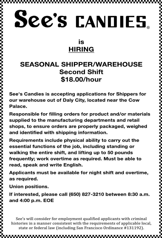Seasonal Shipper/Warehouse