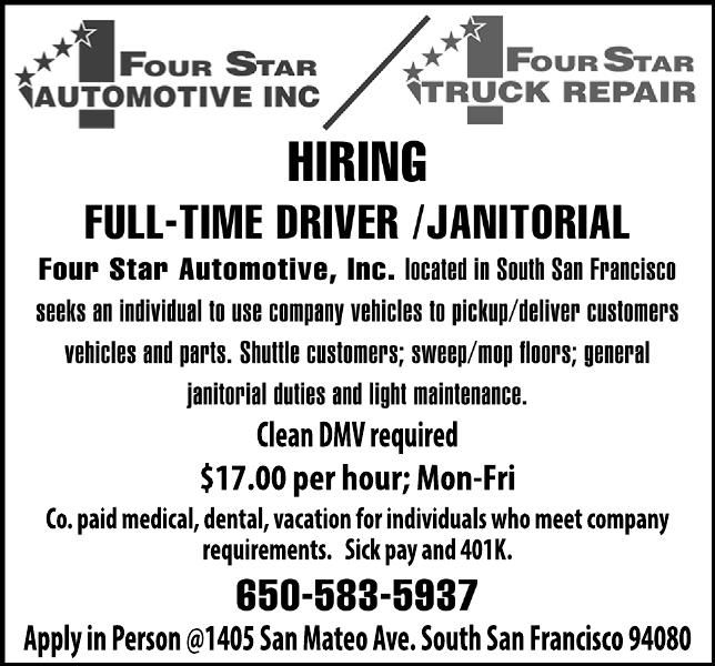Hiring Full -Time Driver/Jaitorial