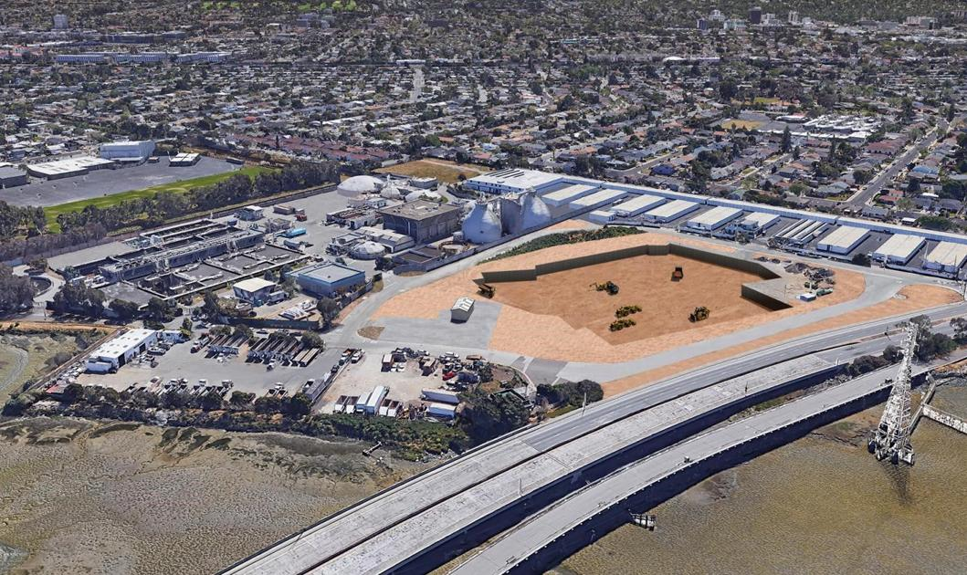 Pile-driving phase for San Mateo wastewater treatment plant construction