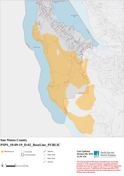 PG&E outage map