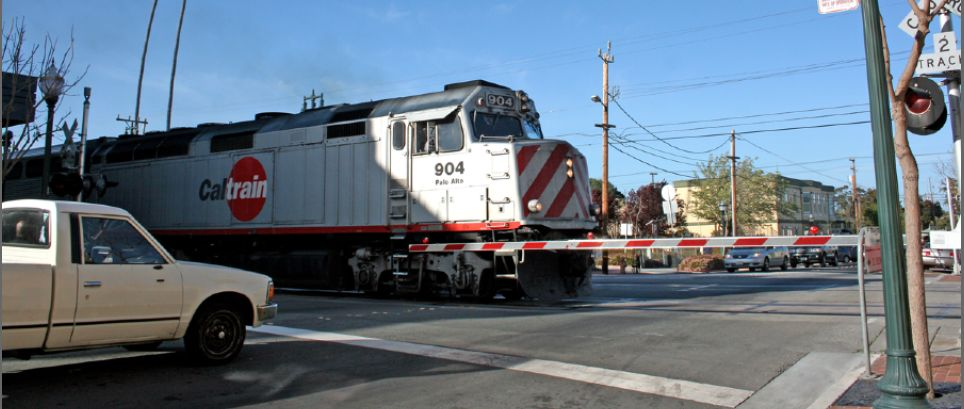 Image result for road crossing on caltrain tracks images