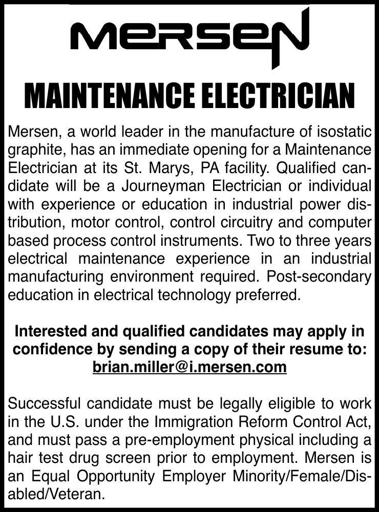 Mersen, St. Marys - Maintenance Electrician