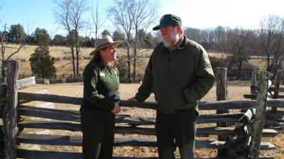 Acting Booker T. Washington National Monument superintendent Robin Snyder and senior park ranger Timothy Sims