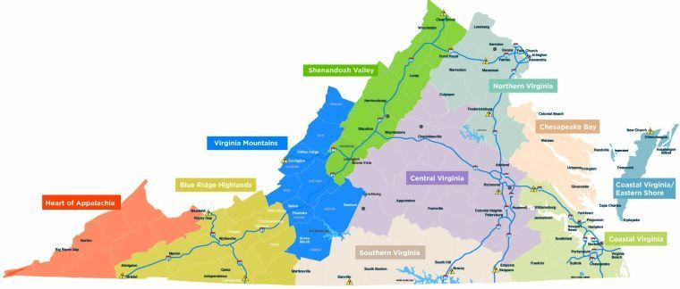 Central Virginia Map.Redrawn Virginia Tourism Regions Puts Sml On The Map Community
