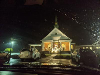 A socially distanced Christmas eve service