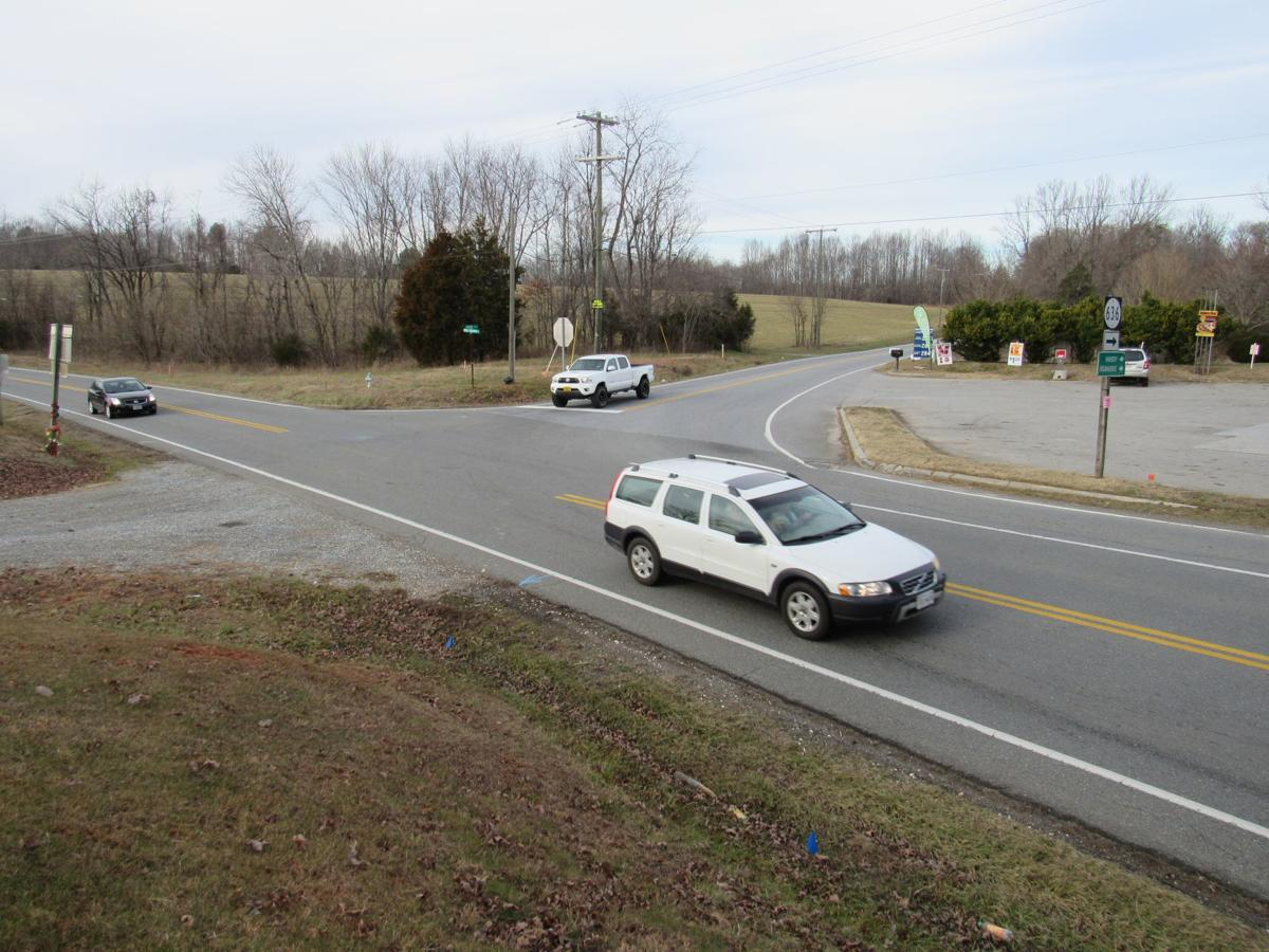 Virginia 122 and Hardy Road intersection