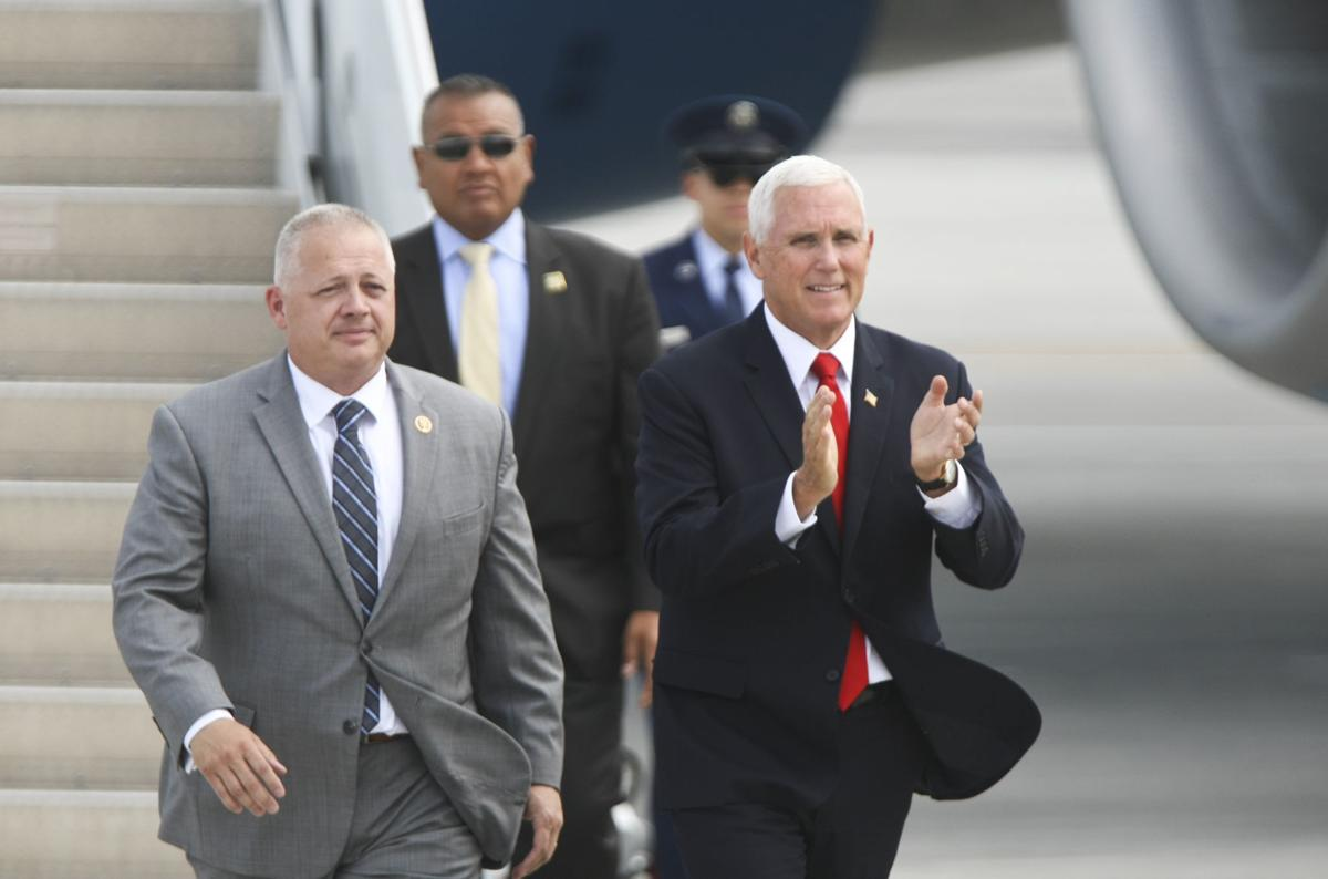 Vice President Mike Pence arrives at Roanoke-Blacksburg Regional Airport