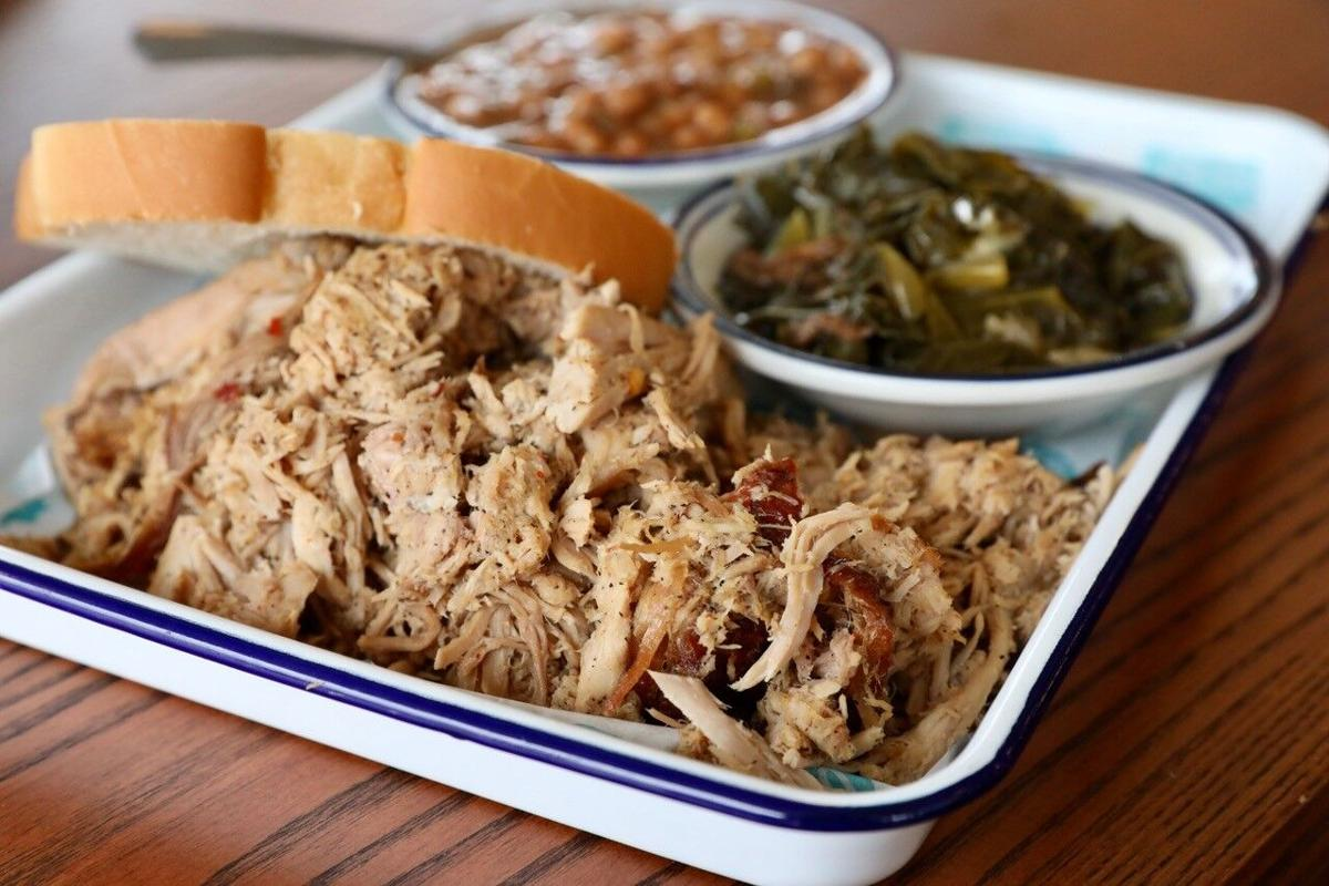 Pulled port with collard greens and baked beans at Rodney Scott's Whole Hog BBQ.