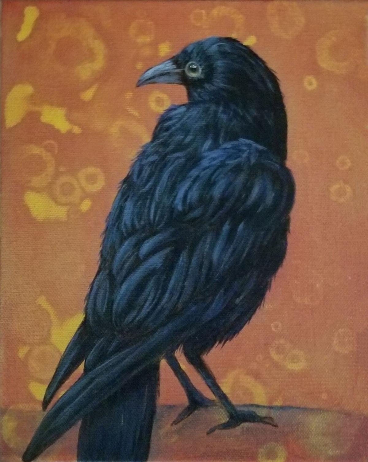 """Crow No. 1 on Gold"" by Barbara Jensen."