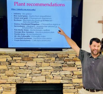 Mathew Parks points out some good landscape choices at the September WFB meeting.