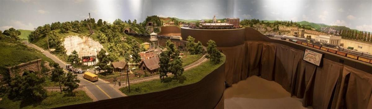 1. An overall view of Bill Gibson's HO railroad layout..jpg