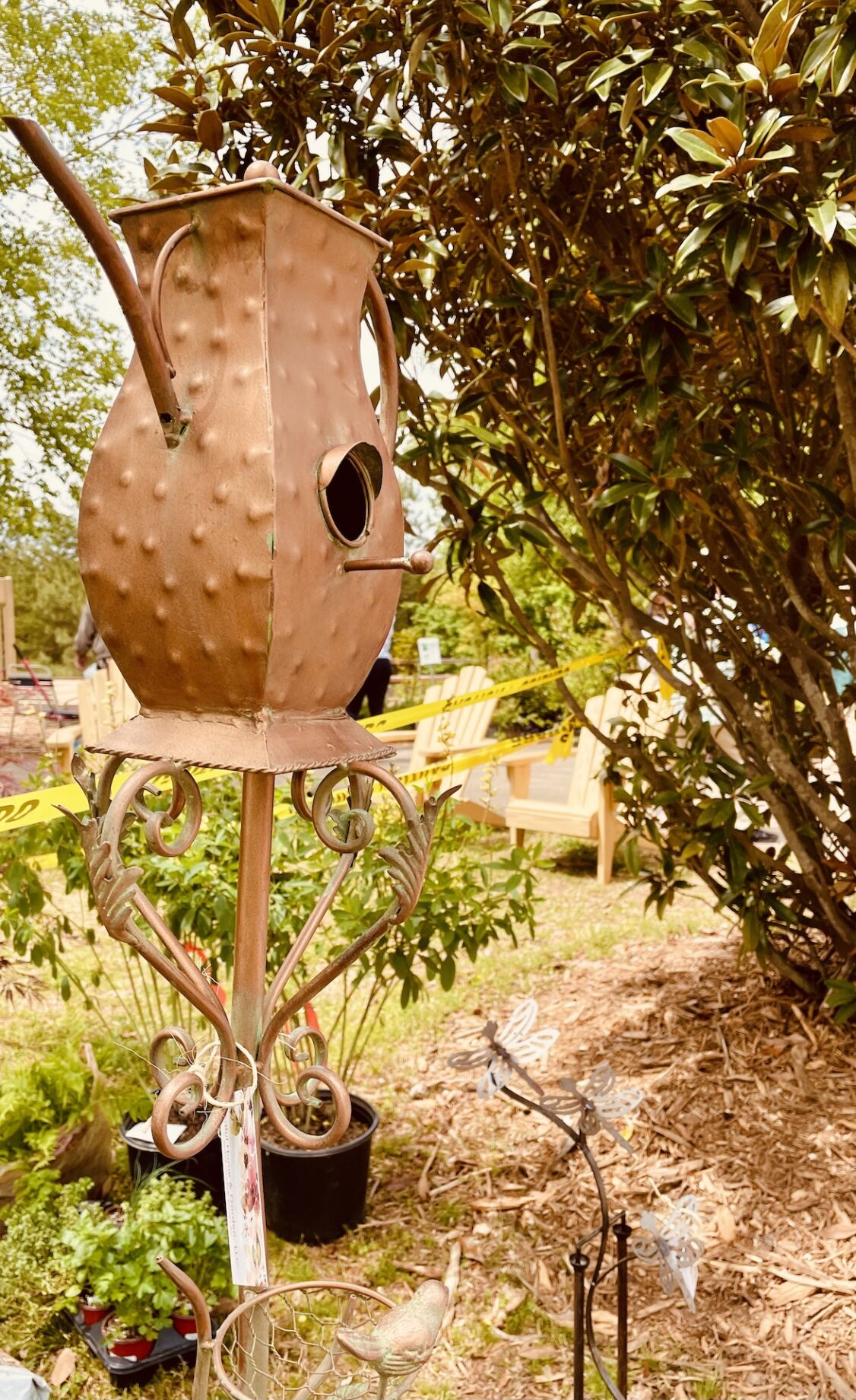 Artistic birdhouses were available at the April WFB Plant Sale.