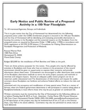 City of Homestead - Early Notice and Public Review of a Proposed Activity in a 100-Year Floodplain