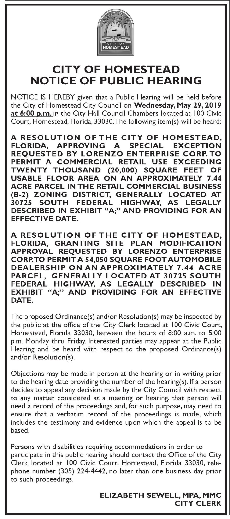 City of Homestead - Notice of Public Hearing