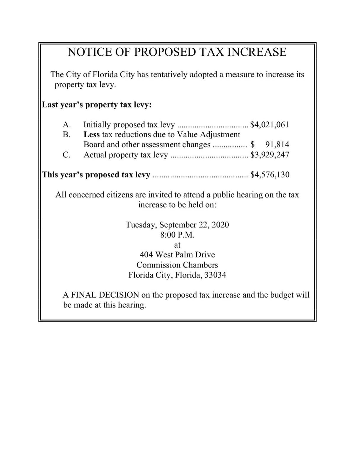 CITY OF FLORIDA CITY - NOTICE OF PROPOSED TAX INCREASE