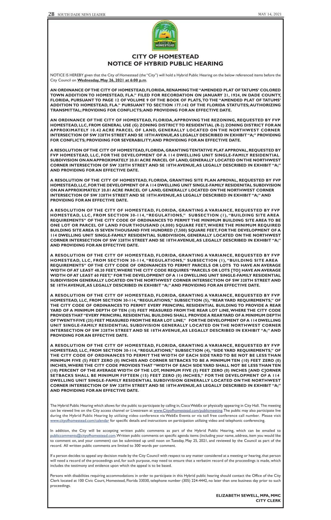 CITY OF HOMESTEAD - NOTICE OF HYBRID PUBLIC HEARING