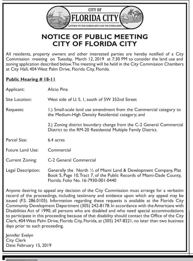 City of Florida City - Notice of Public Meetings