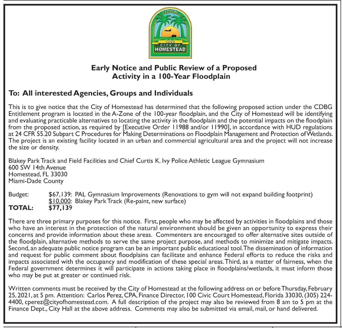 City of Homestead - Early Notice and Public Review of a Proposed Activity in a 11-Year Floodplain
