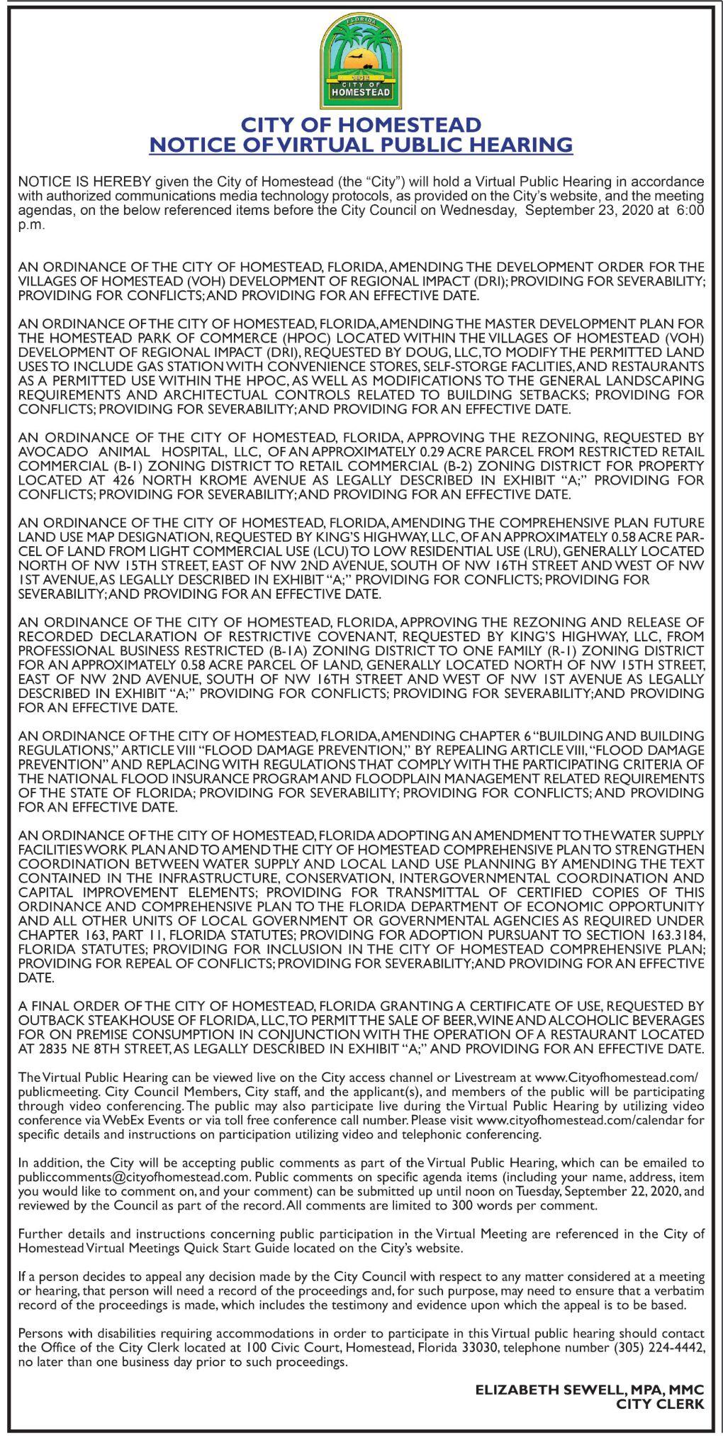 Notice of Virtual Public Meeting - City of Homestead