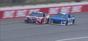 Kyle Busch and Kyle Larson race to the finish at Chicagoland last weekend