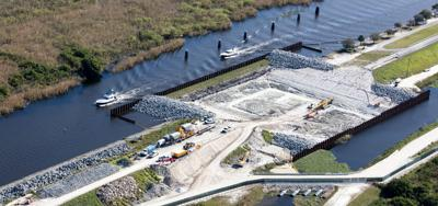 Ongoing rehabilitation of the Herbert Hoover Dike which surrounds Lake Okeechobee.