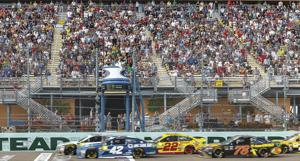 The sold out crowd at Monster Energy NASCAR Cup Series Ford EcoBoost 400 championship race.