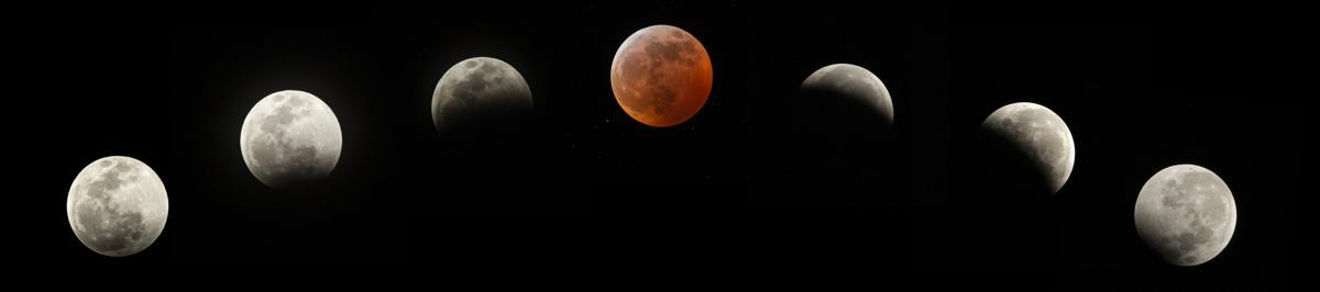 Composite image of the Super Wolf Blood Moon