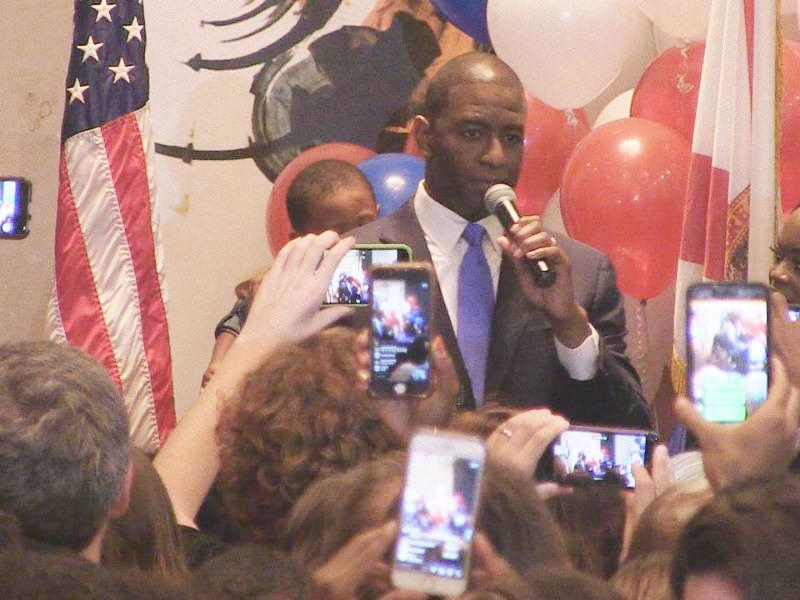An excited crowd records the moment on their phones as Tallahassee Mayor Andrew Gillum wins the Democratic primary for Florida Governor.