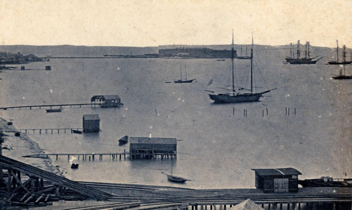 Fort Taylor and the Key West Harbor circa  1865 from the DeWolfe  and Wood Collection.