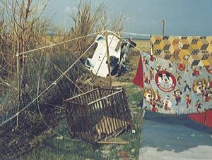 Boat and crib, blown into the Meneses' yard.