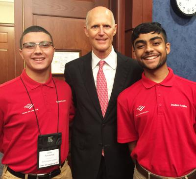 Student Leaders Javier Kowalchuk (left) of Homestead and Darius Hagyan (right) from Hialeah had the opportunity to meet with Senator Rick Scott.