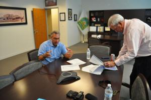 Director of Development Services Joe Corradino confers with Mayor Jeff Porter