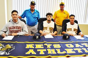 Keys Gate Baseball players at signing day for college athletic scholarships.
