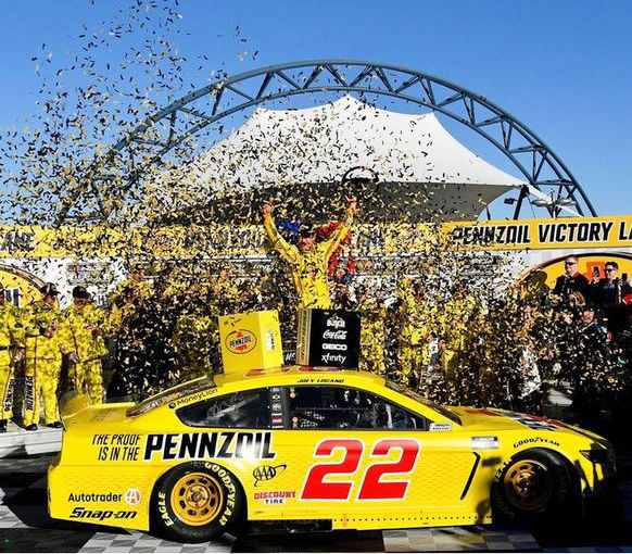 Joey Logano celebrates after his win in Vegas.