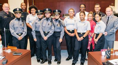 Homestead Police and Councilman Roth honor the members of the Police Explorers.