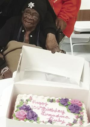 Miss Ruby Mae Williams-Grant at her 106th birthday party held at Homestead Manor.