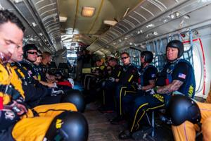 The pilots and crew members of the Aviation Detachment of the Golden Knights supports the team with a fleet of five aircraft