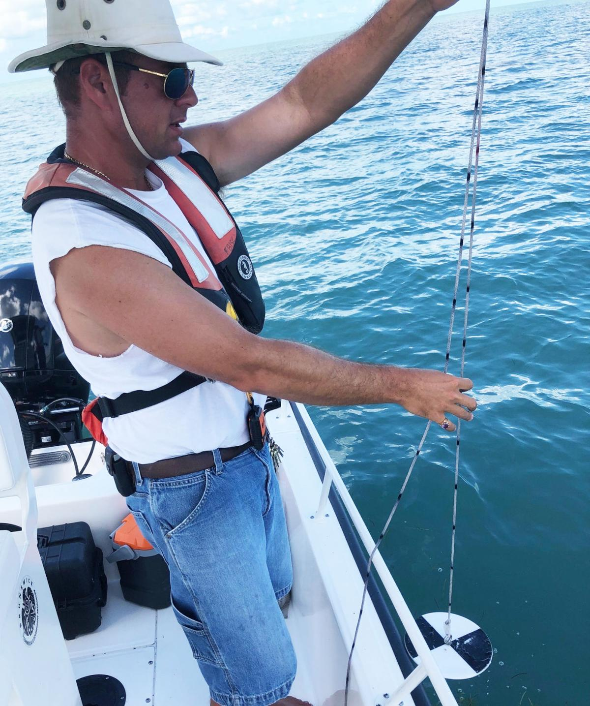 Left:  Everglades National Park biologist Zach Fratto uses a secchi disk, a way to measure turbidity or water clarity.  NPS photo.
