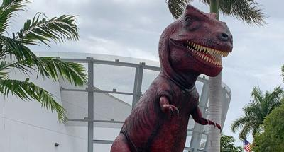"""Dino,"" who welcomed visitors to Turkey Point for many years, is now ""Rosie"" (literally, looking at her new coat of paint) greeting everyone at the South Florida Science Center in West Palm Beach."